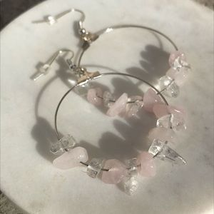 Rose quartz hoops